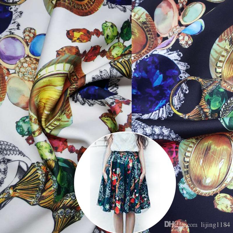 2017 jewelry space cotton elastic fashion fabric air layer for Space pants fabric