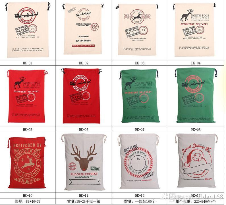 2017 Christmas Large Canvas Monogrammable Santa Claus Drawstring Bag With Reindeers, Monogramable Christmas Gifts Sack Bags