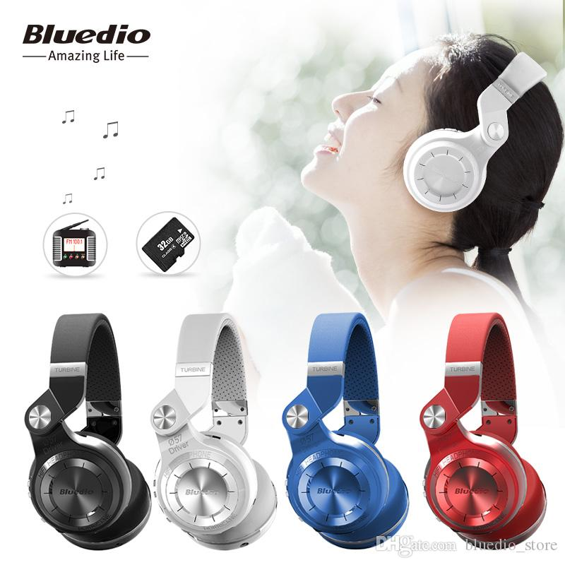 Bluedio T2+ (Turbine 2 Plus) foldable bluetooth headphone Bluetooth 4.1 headset support SD card and FM Radio with gift box for calls/music