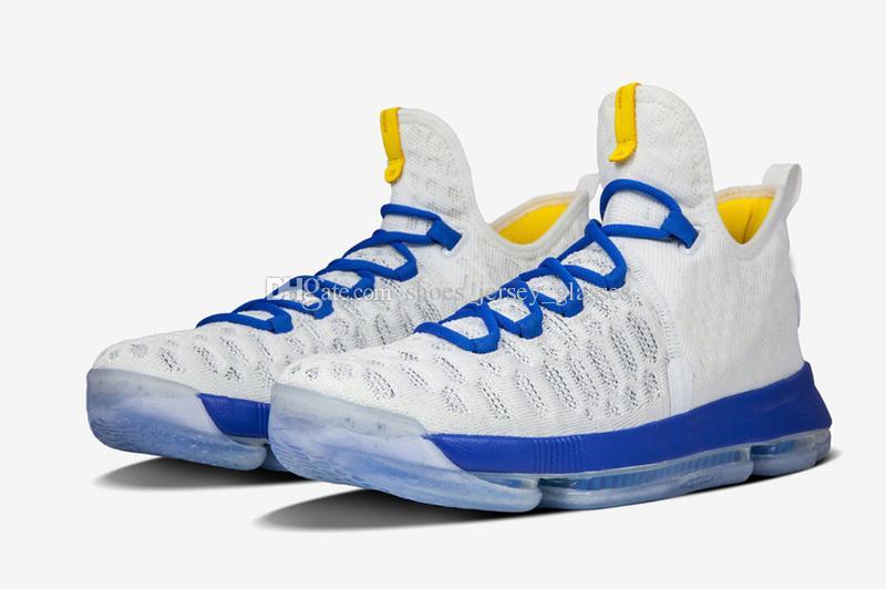 Kd 9 Warriors Mens Basketball Shoes Cheap White Blue Yellow Grey ...