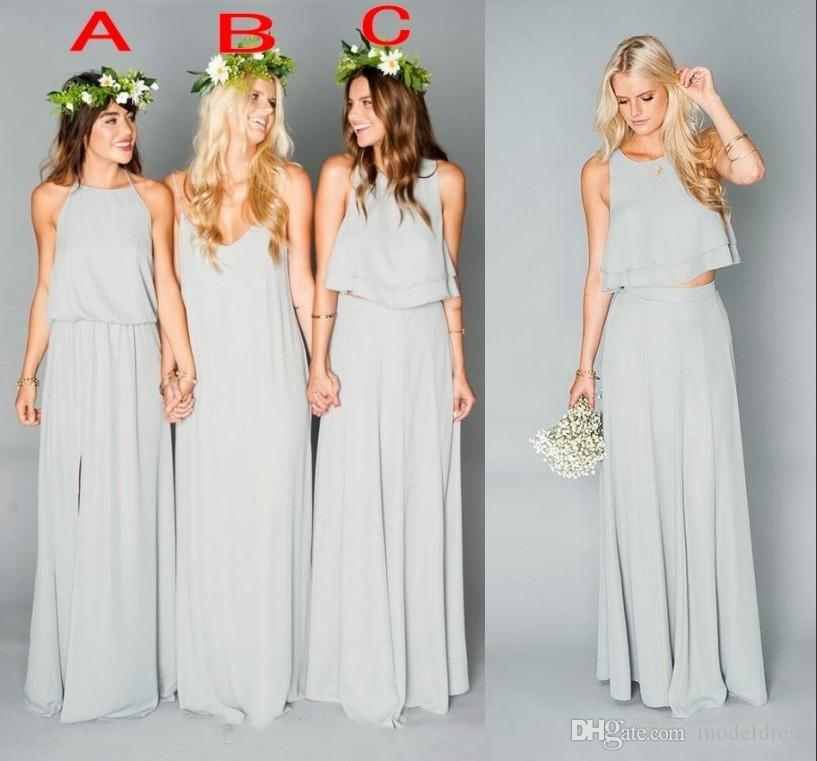 2016 new boho grey bridesmaid dresses side split two for Bohemian dresses for a wedding guest