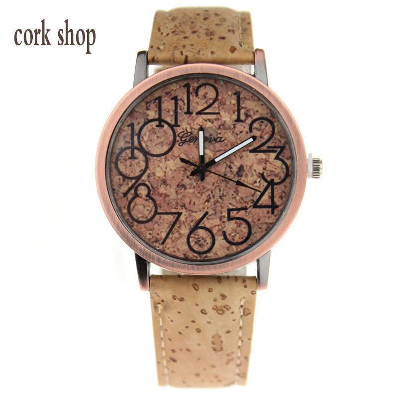 cork shopbeige cork watches men or women wrist watch wood color quartz casual wristwatch - Color Watches