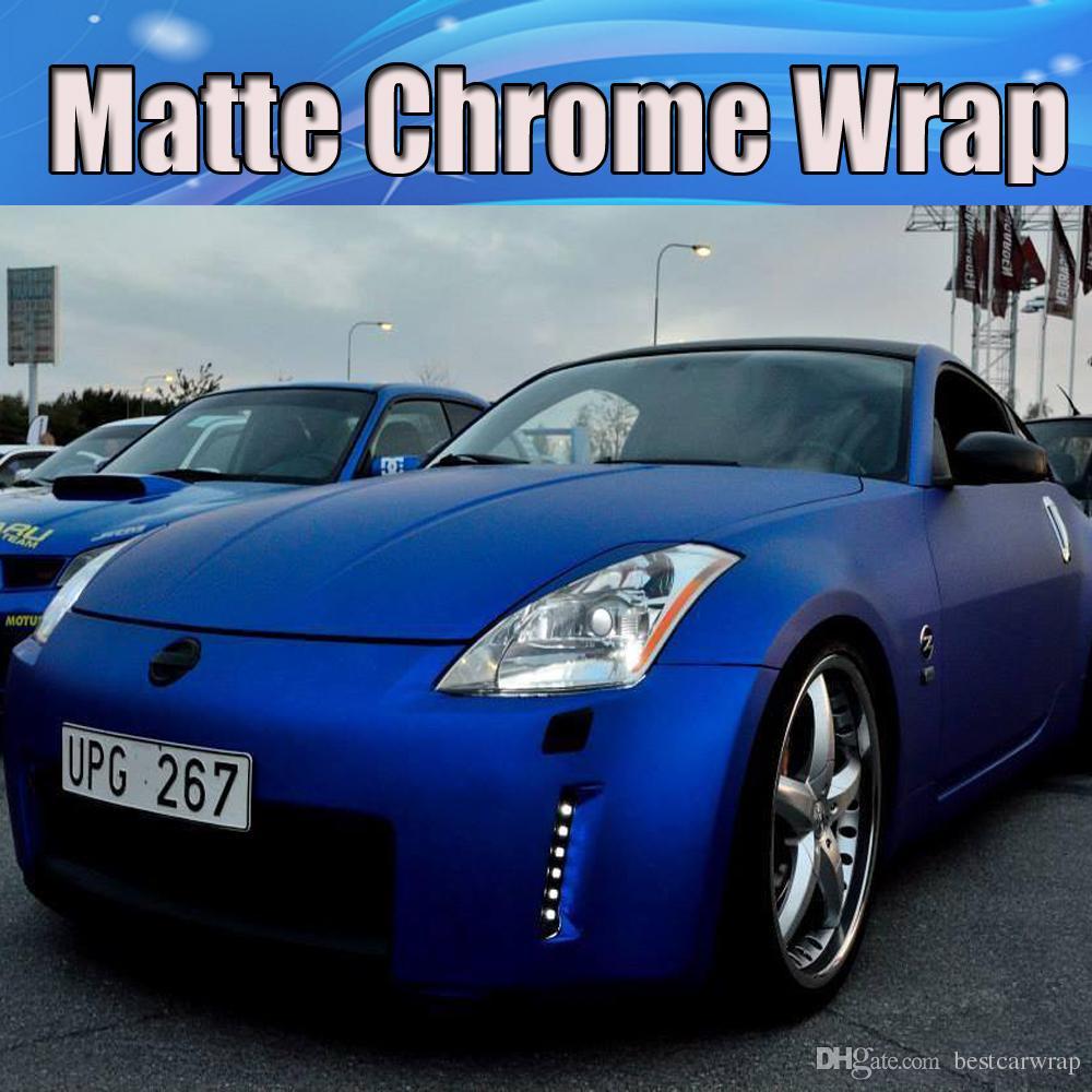 Blue car sticker design - Dark Blue Matt Chrome Vinyl Car Wrap Film With Air Channle Stretchable Chrome Matt Foil Covers