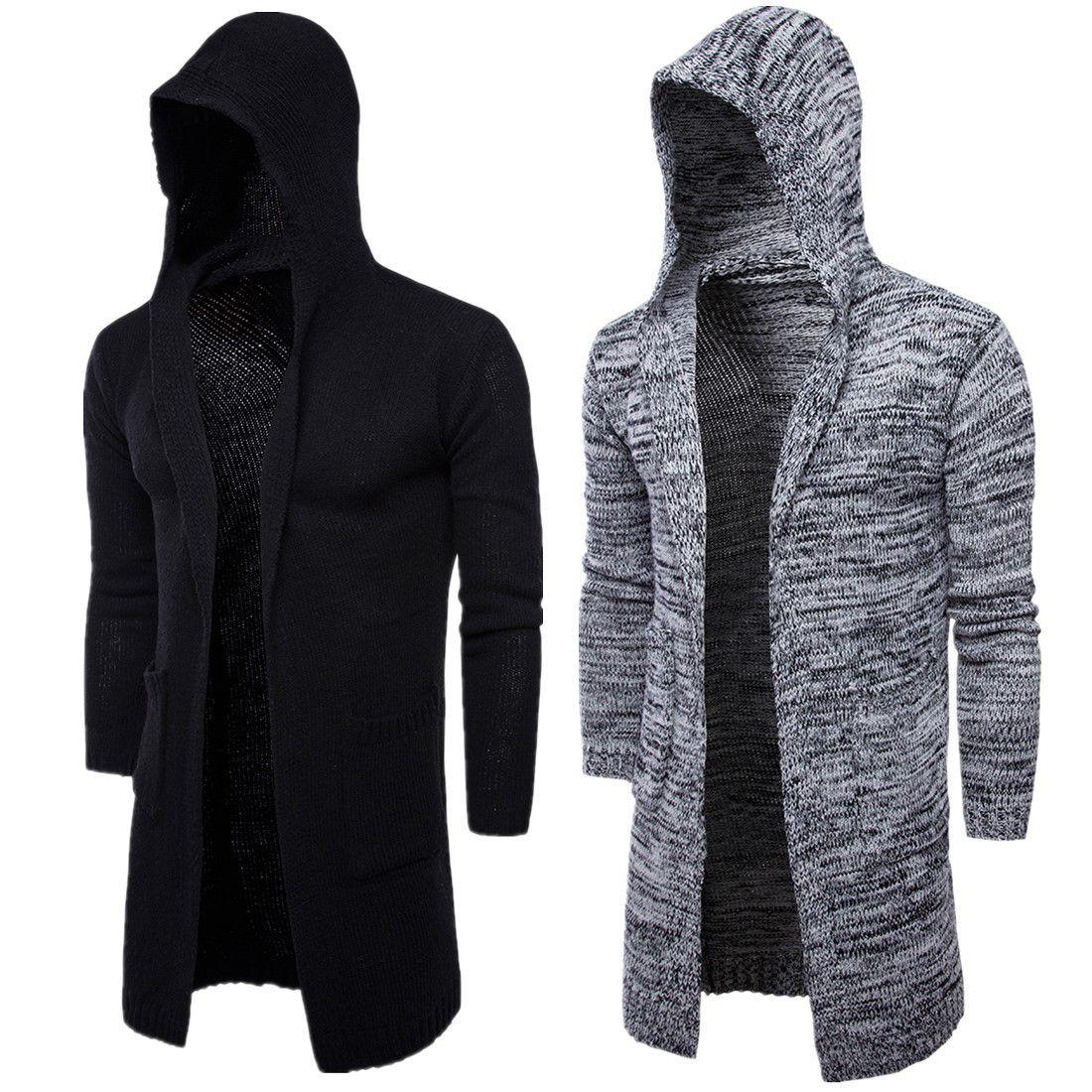 Men's Hooded Sweater Knitting Cardigan Sweater Jackets Slim Long ...