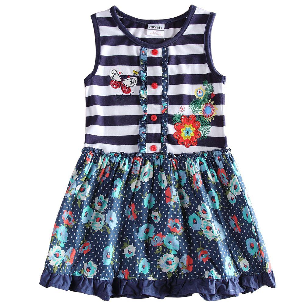 Shirt design for baby girl - Girls T Shirt Dress Skirt Sleeveless Cotton With Cartoon Butterfly Printing Stripe Colorful Design Kids