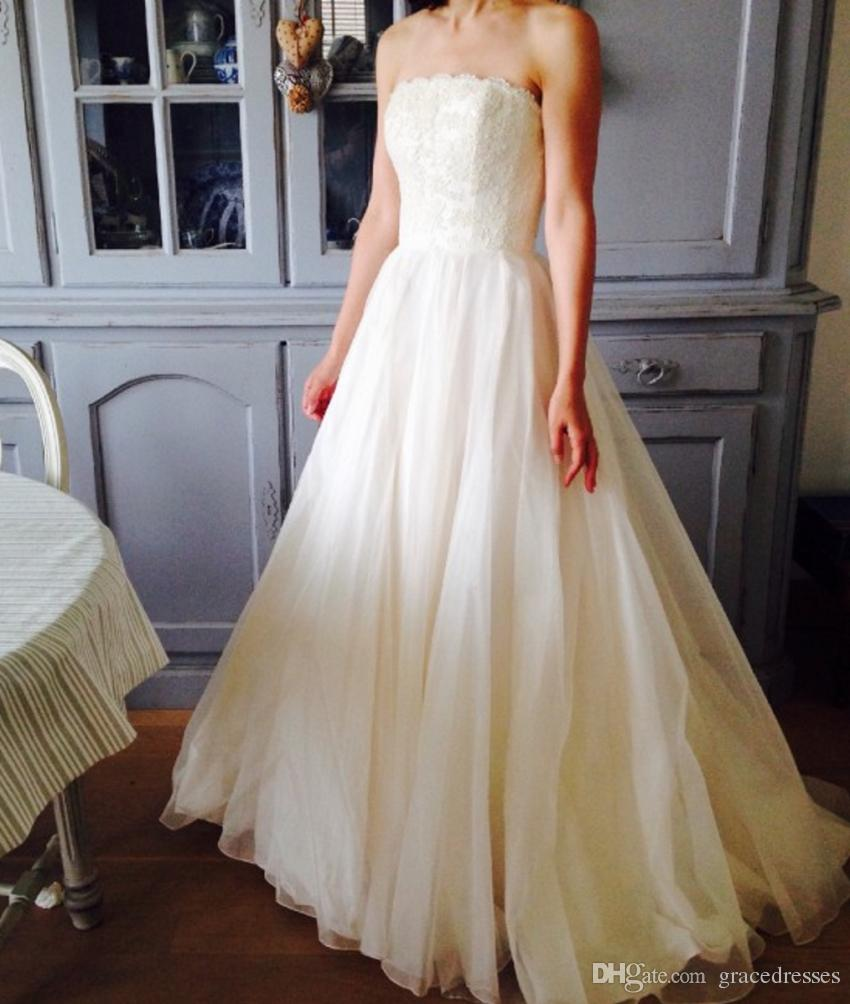 Discount light beige wedding dress 2016 strapless lace for Light colored wedding dresses