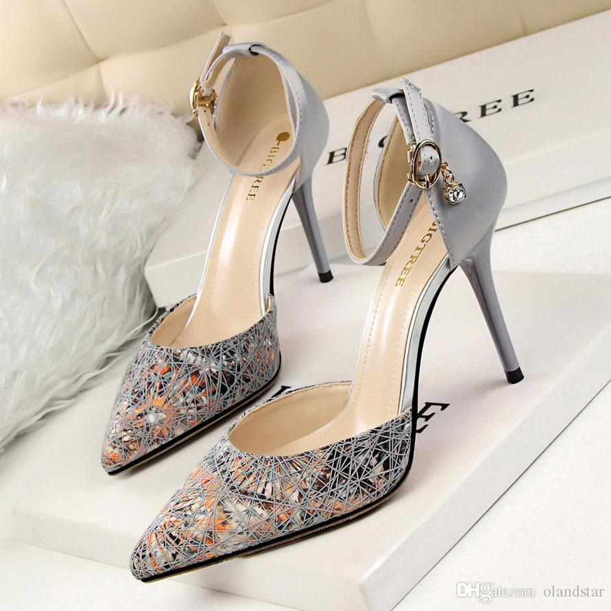 W16S083 Satin Lady Dress Shoes Women Pointed Toe Thin High Heels ...
