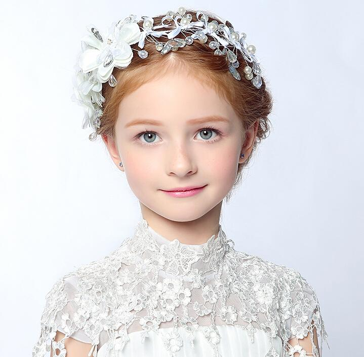 Crystal Beaded Bow Girls Head Pieces Children Hair Flower Girls Christmas Party Wedding Hair