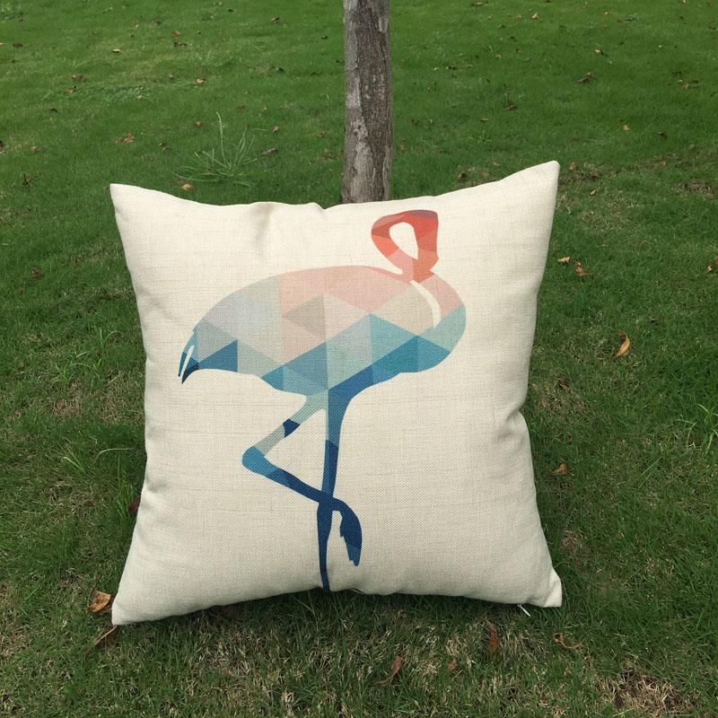 Wholesale Blanks Flamingo Burlap Pillow Case Jute Material