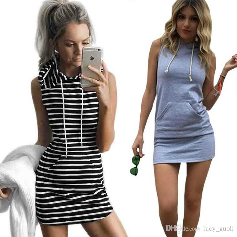 Summer Sport Dress Women Slim Hooded Dress 2016 Gray Pullover Mini ...