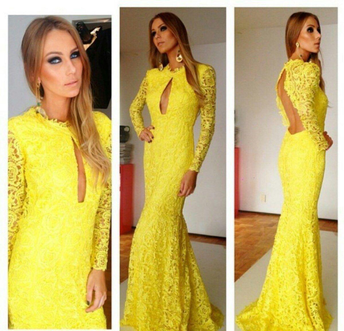 Yellow Mermaid Prom Dresses 2014 Yellow Lace Pro...