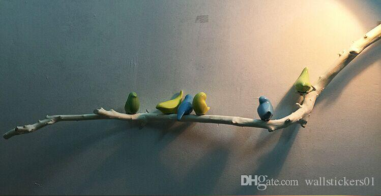 Resin Wall Art resin ceramic branch+birds wall sculpture wall art decals handmade