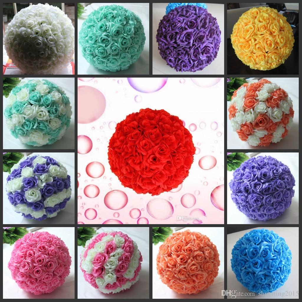 Silk christmas ornaments - Free Shipping 12 Inch 30cm Artificial Rose Balls Silk Flower Kissing Balls Hanging Rose Balls Christmas