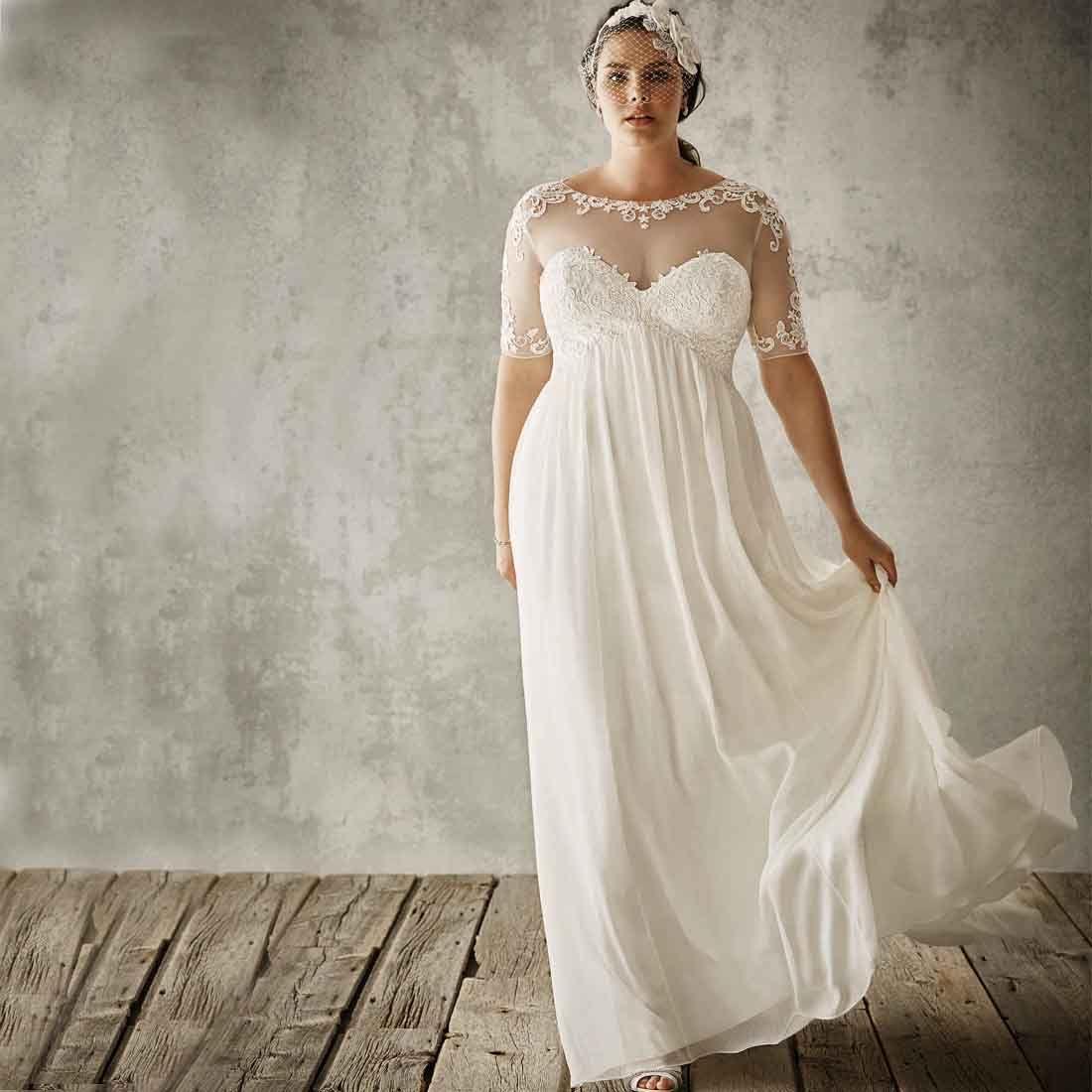 Cheap Beach Wedding Dresses Plus Size 2016 y Sheer Lace
