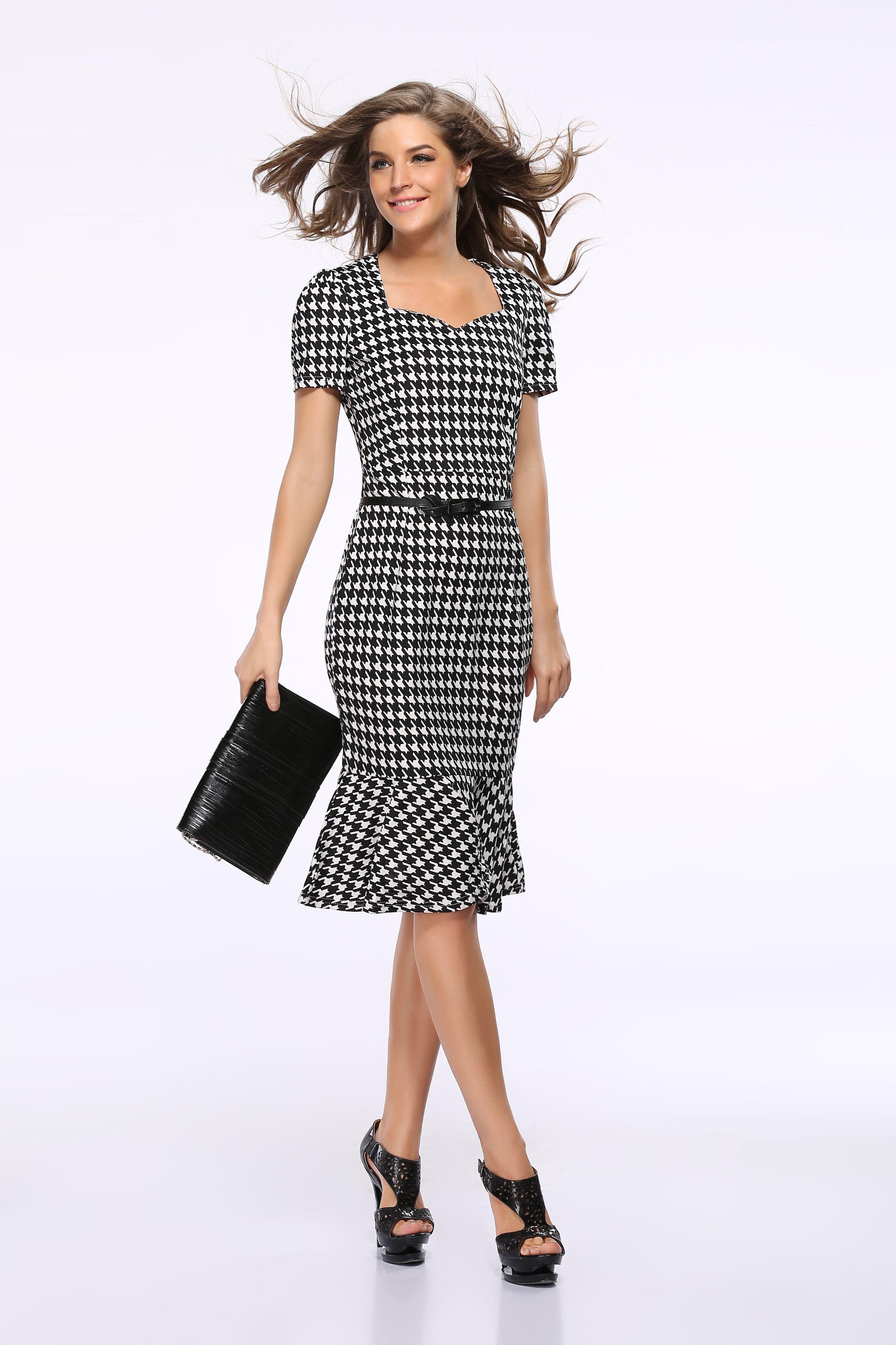 Women Summer Dress Elegant Ladies&-39- Casual Dress Office Dresses ...