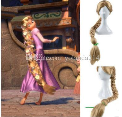 new movie tangled princess rapunzel wig extra long blonde braid synthetic anime cosplay wig. Black Bedroom Furniture Sets. Home Design Ideas