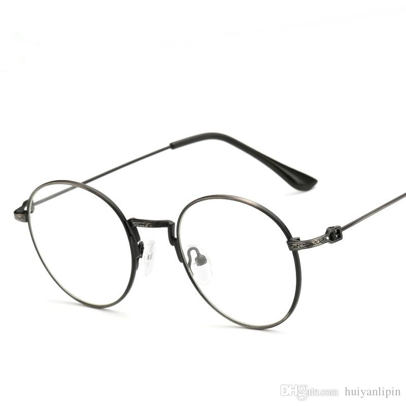 vintage thin metal eyeglasses frame women men brand design elegant round optical glasses fashion plain mirror