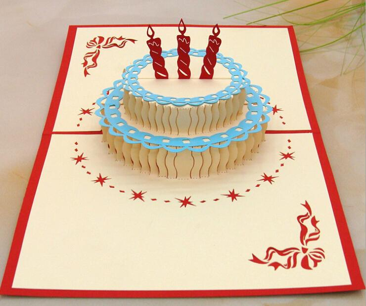 Best Wishes 3d Birthday Greenting Cards Birthday Cake Shape Paper Sculpture Creative Greenting