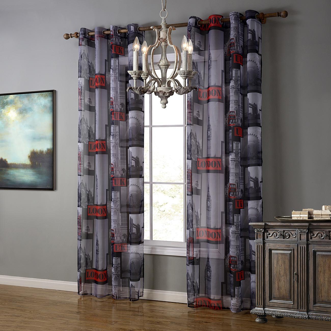 Living Room Curtain Fabric 2017 Printed London Window Curtain Europe Style Curtain Fabric