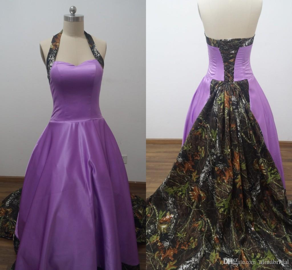 Discount 2016 real picture purple camo wedding dresses for Plus size purple wedding dress