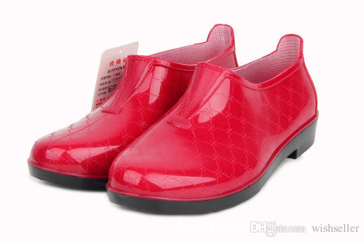 Women Rain Boots Solid Color Rubber Boots Short Flat Rain Shoes ...