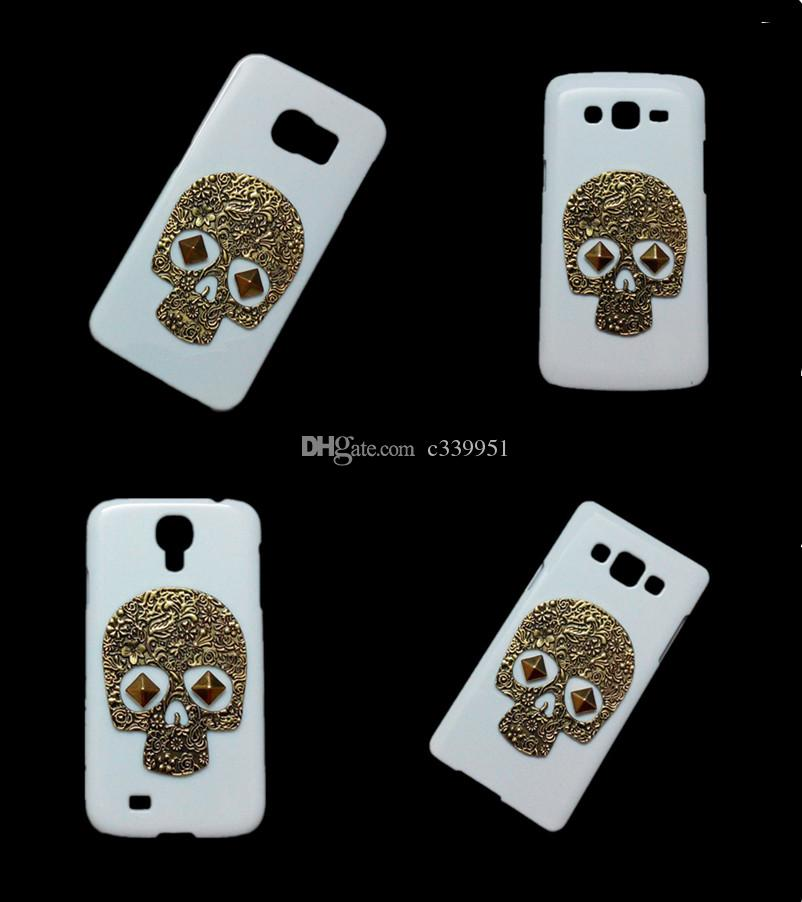 Squelette Punk 3D Vintage Retro Bronze Skull Rivet Stud Hard Back Case Cover pou