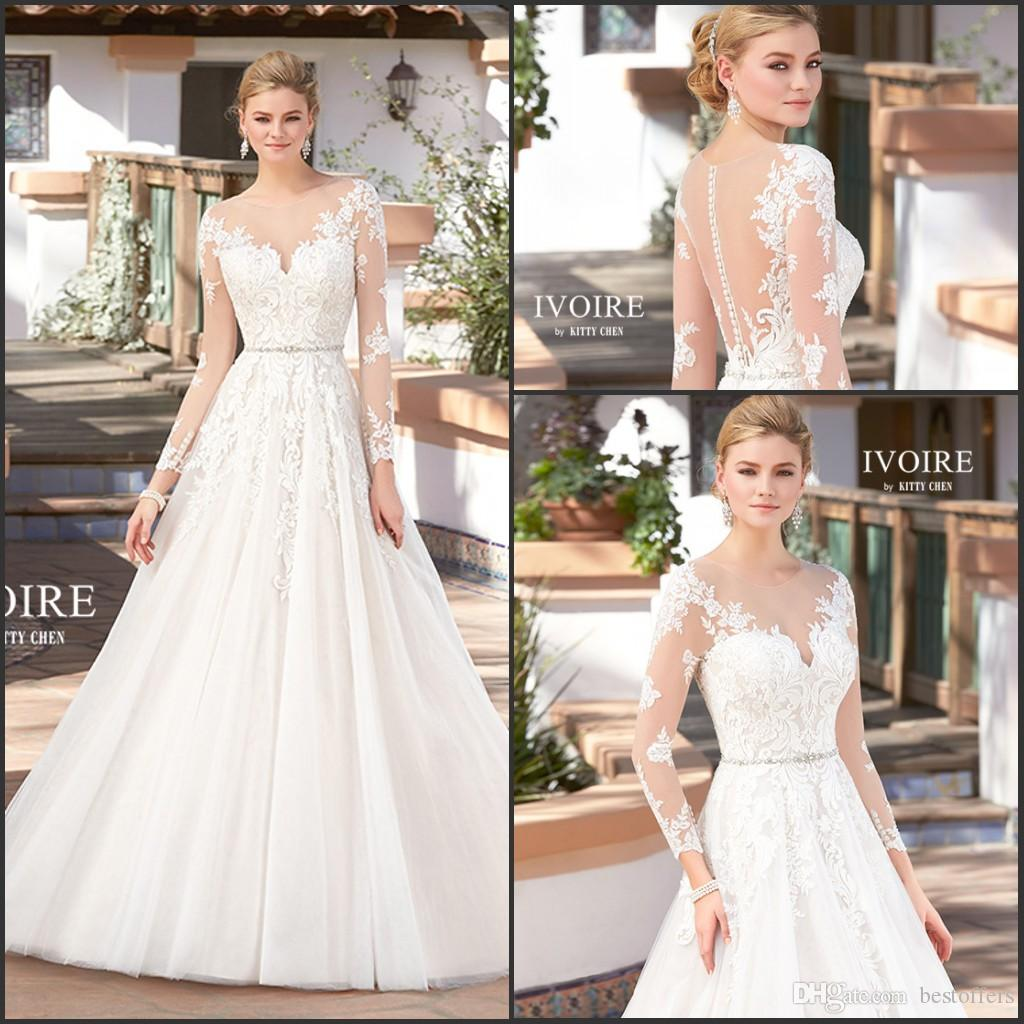 Discount 2017 Vintage French Lace Wedding Dresses Long