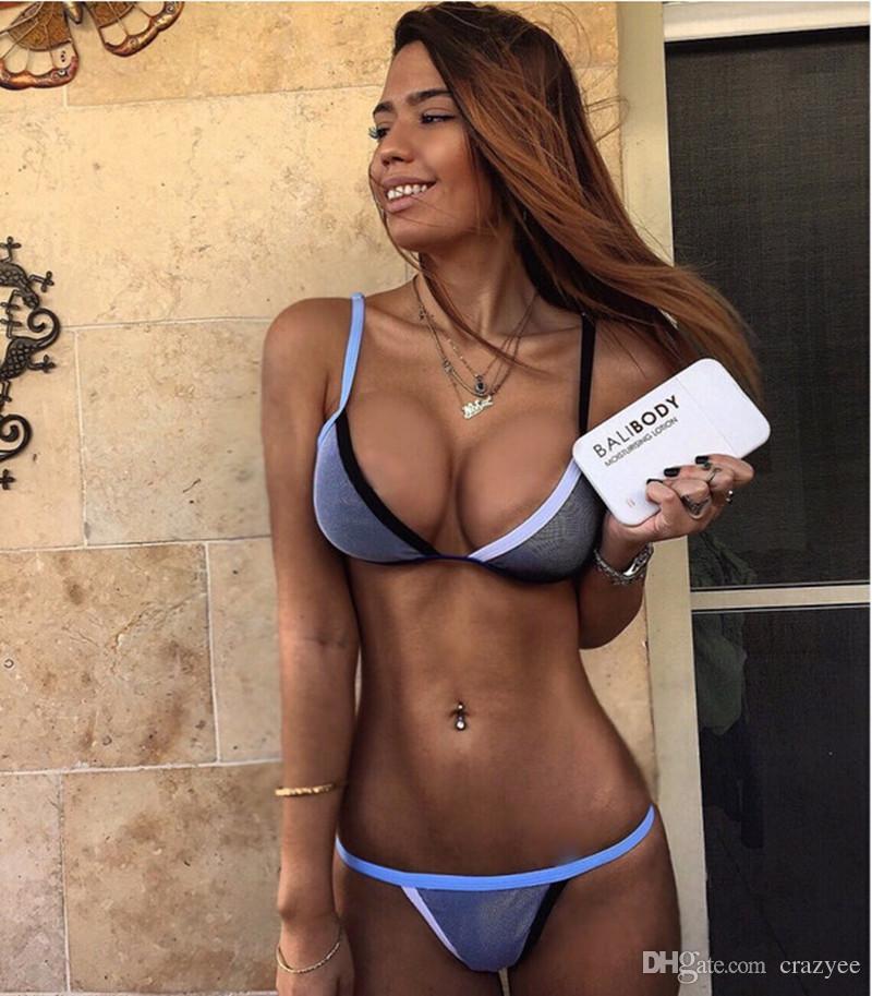 2016 Sexy Micro Bikini Brazilian Mesh Patchwork Scrunch Butt Swimwear Swimsuit Thong swimwear lingerie G-