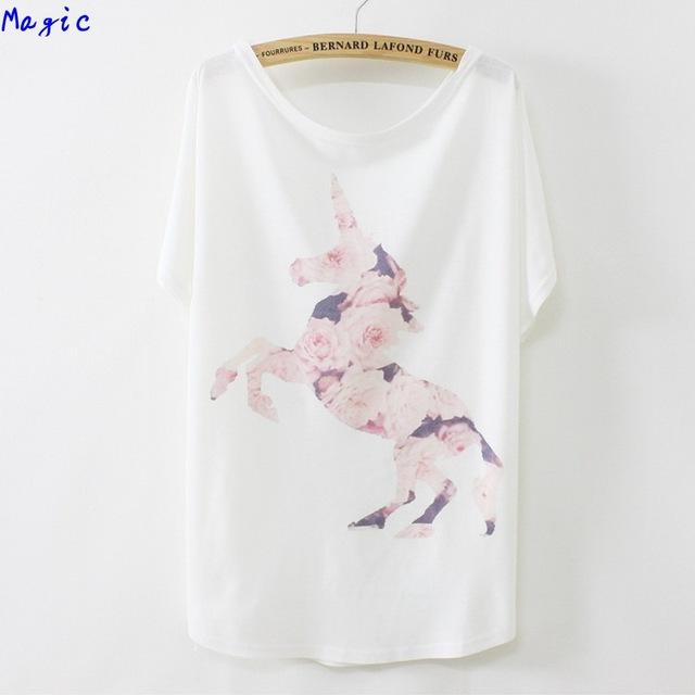 Gros- [Magie] Tops tees chaud belle rose rose cheval Unicorn impression t-shirt