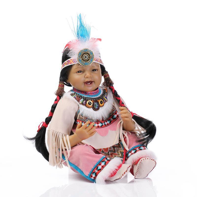 22 Inch Soft Silicone Vinyl Native American Indian Reborn