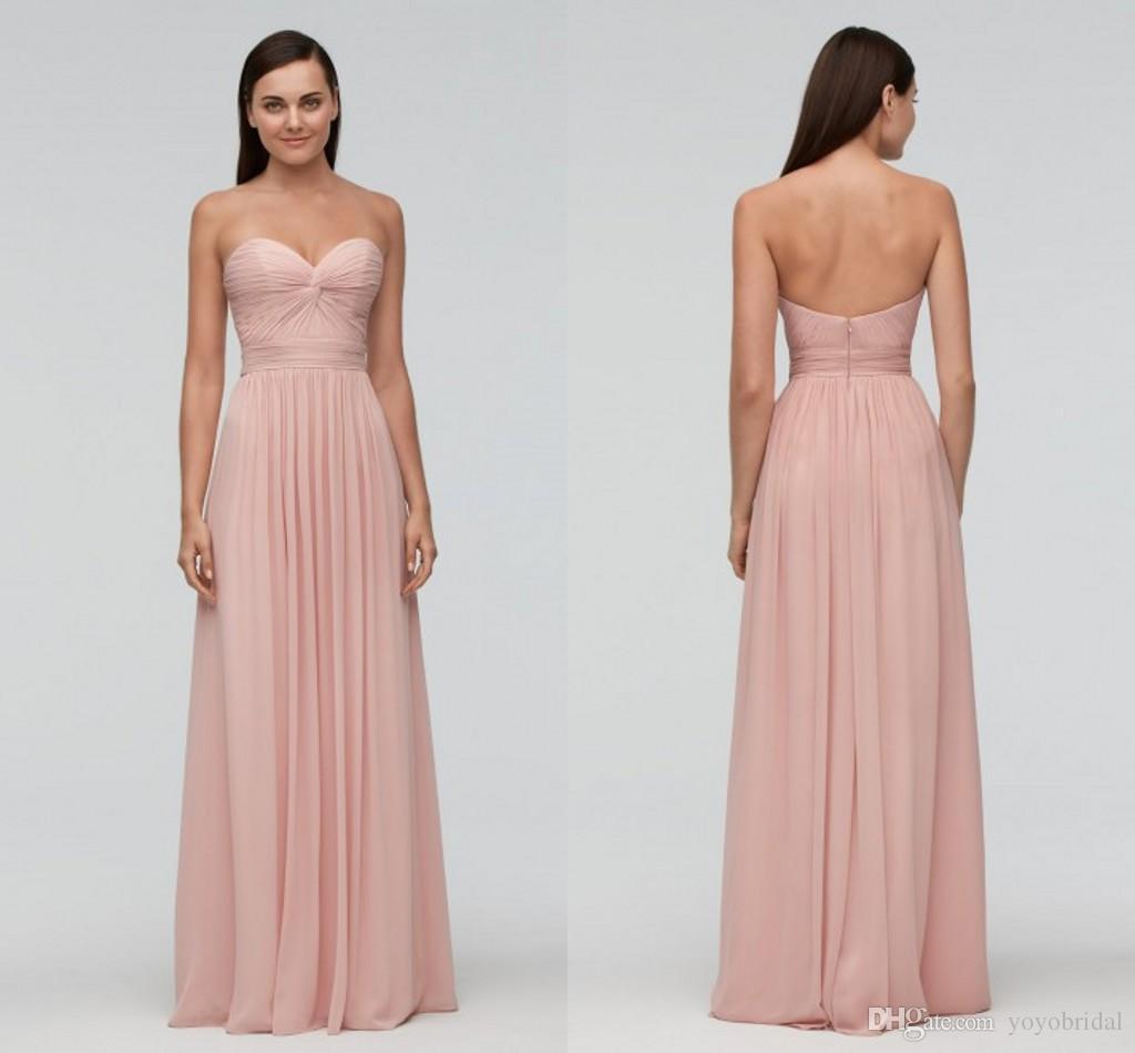 Elegant Pink Beach Bridesmaid Dresses Cheap Long Designer Sweetheart Chiffon 9542 Pleated 2017