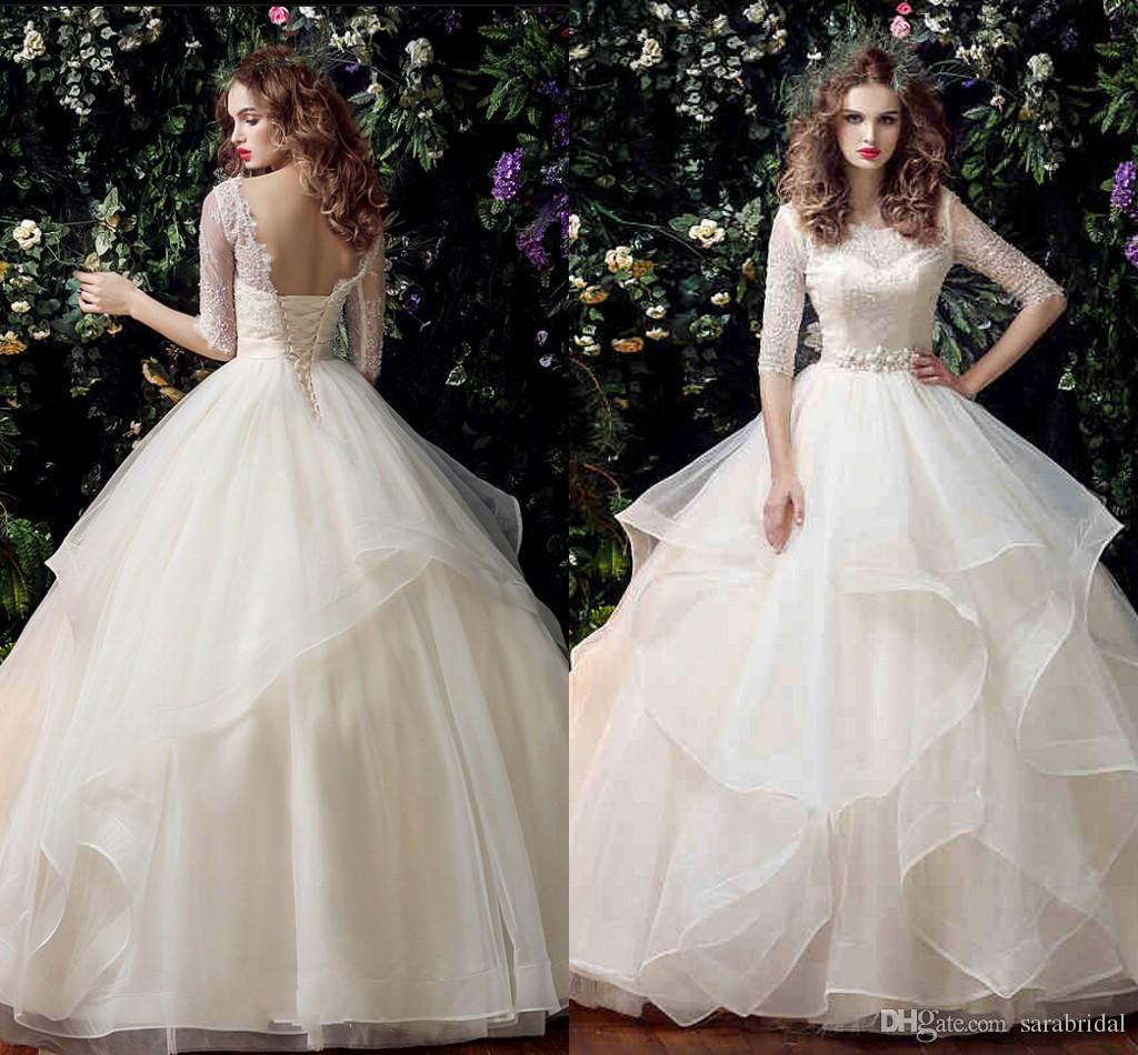 Vintage Wedding Dress 2016 Half Sleeves Lace Applique Lace