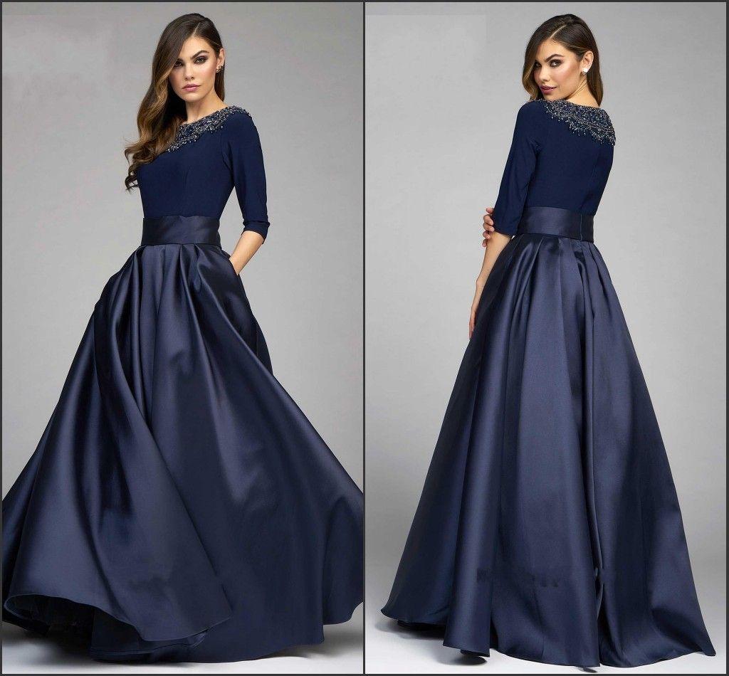 Vintage Navy Designer Mother Of The Bride Groom Dresses