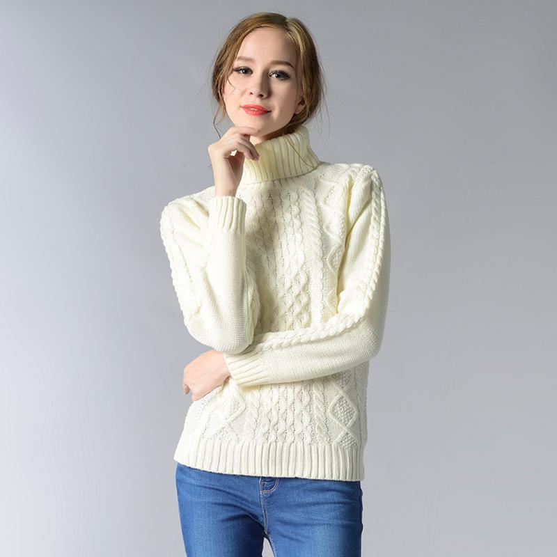 Pullovers Sweaters Women Turtleneck Knitted Soft Jumper Pull Femme ...