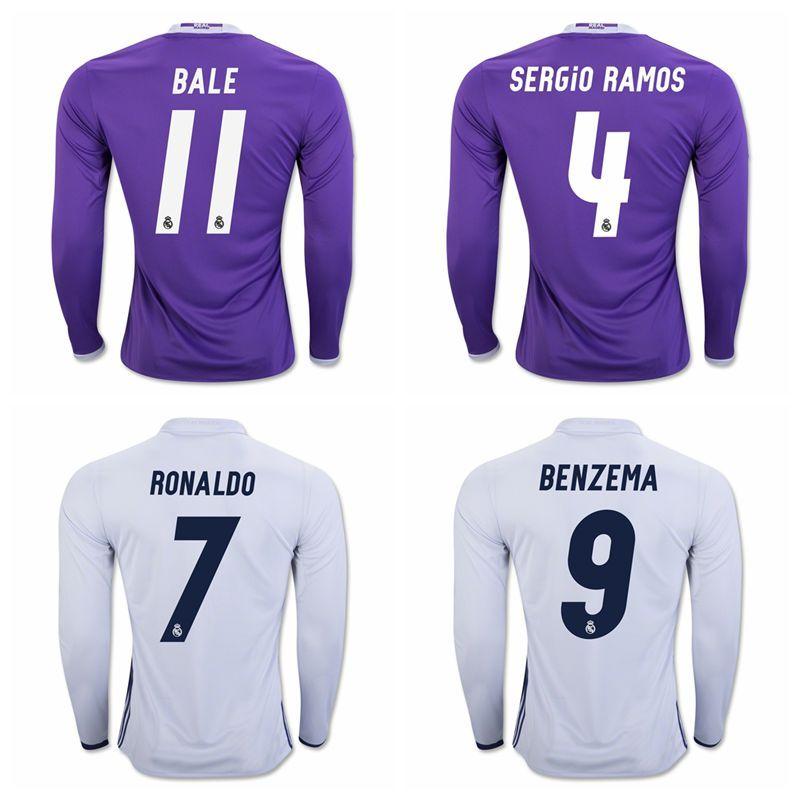 ea05a609f ... 3 PEPE white soccer jerseys home 2016 2017 Real Madrid home jerseys  AWAY 16 17 Long sleeve shirt Free shipping LS RONALDO ...