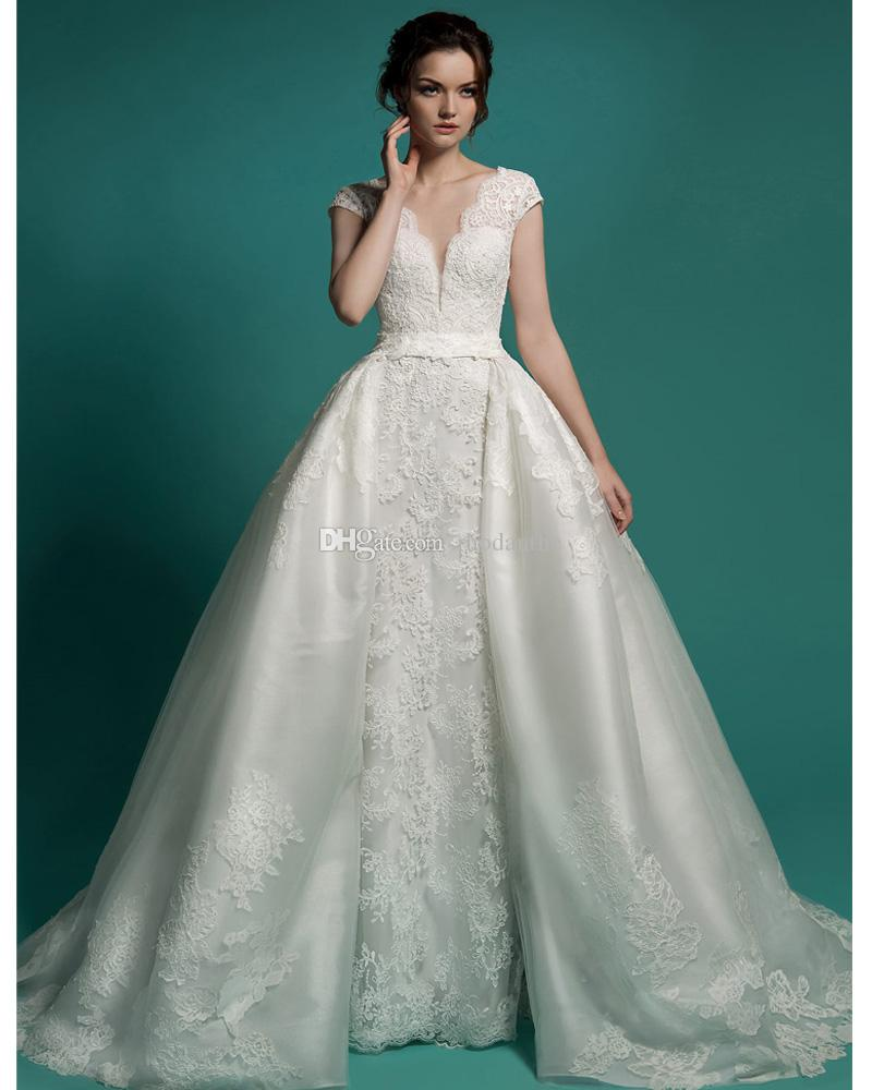 Detachable skirt wedding dress 2017 removable skirt lace for Removable tulle skirt wedding dress