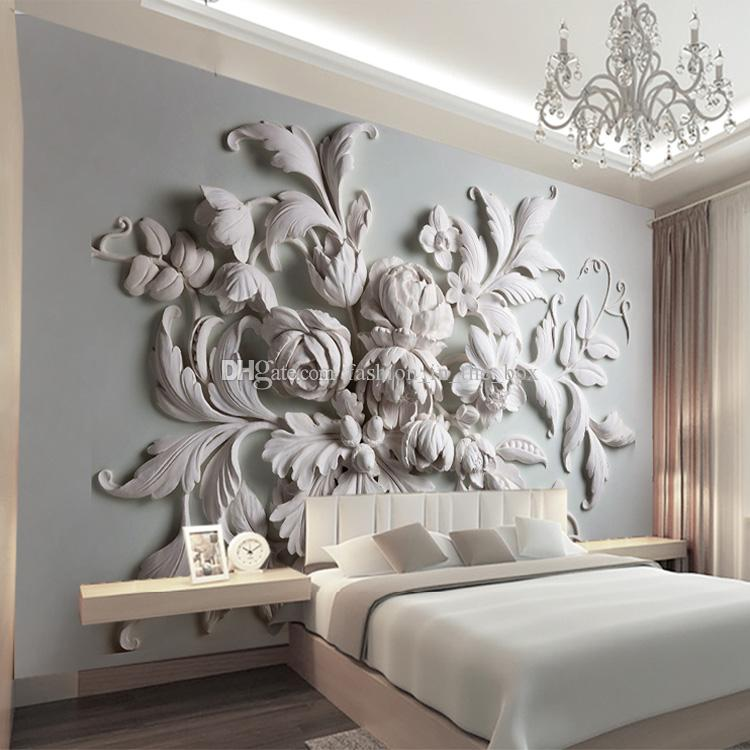 Custom photo wallpaper 3d european embossed flowers for Black and white rose wall mural
