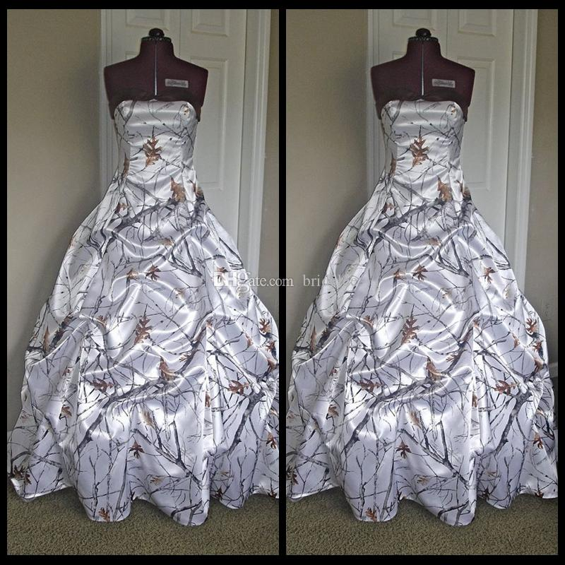 Fashion comouflage wedding dresses with pick up skirt for Snow white camo wedding dress