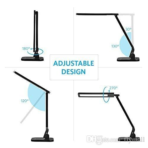 Bureau Lampe LED Lampe de table avec Port de charge USB Eye-Caring Panel Design 4 Éclairage Modes bras réglable Salle d'étude de travail lampe Night Light