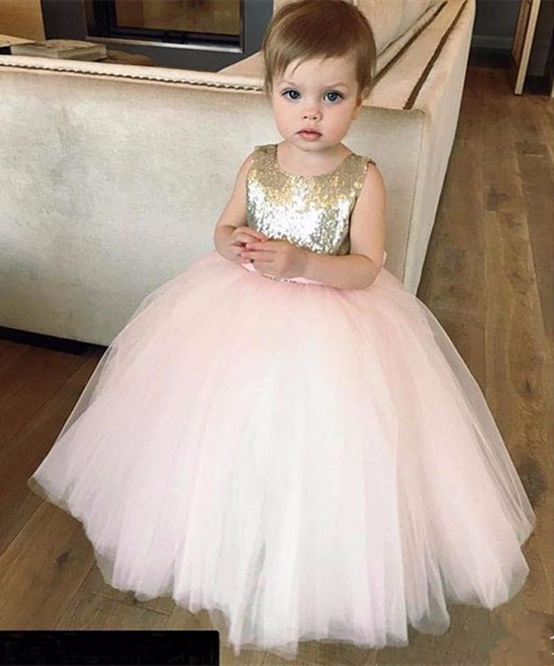 Lovely Pink Flower Girl Dresses Sequined Fabric Bodice Puffy Tulle ...