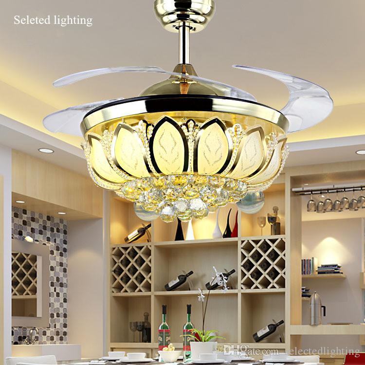 42 Inch Ceiling Fan Crystal Chandelier Lotus Light Changeble Colors Remove Control Fans Living Room
