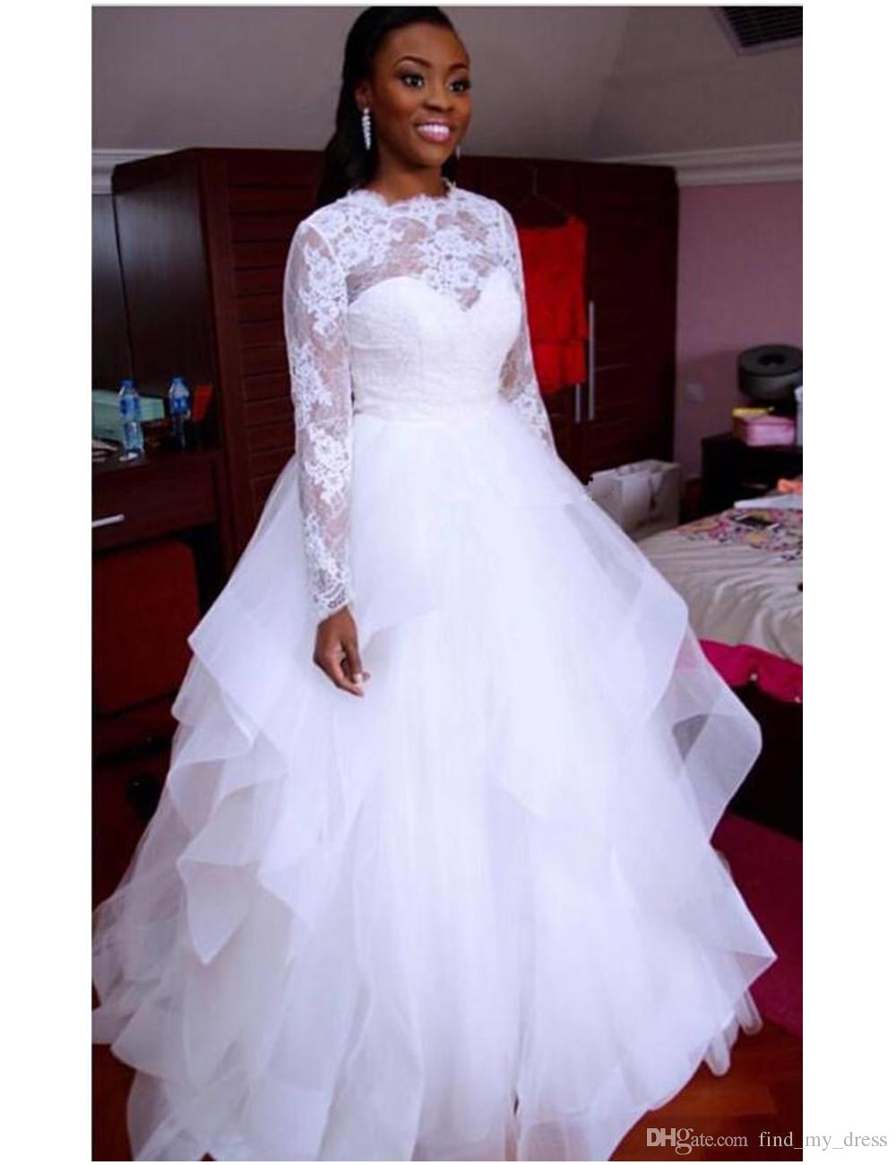 2017 Newest White Ball Gown Wedding Dress Long Sleeve Jewel Neck Lace Ruffles Tulle Floor Length