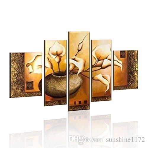 5 Piece Canvas Wall Art canvas wall art home decoration hand paint flower oil painting