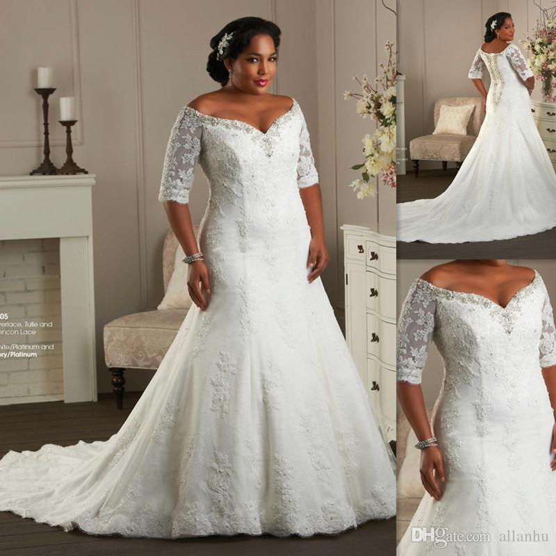 Hot sale plus size wedding dresses half sleeves off the for Plus size wedding dresses on sale