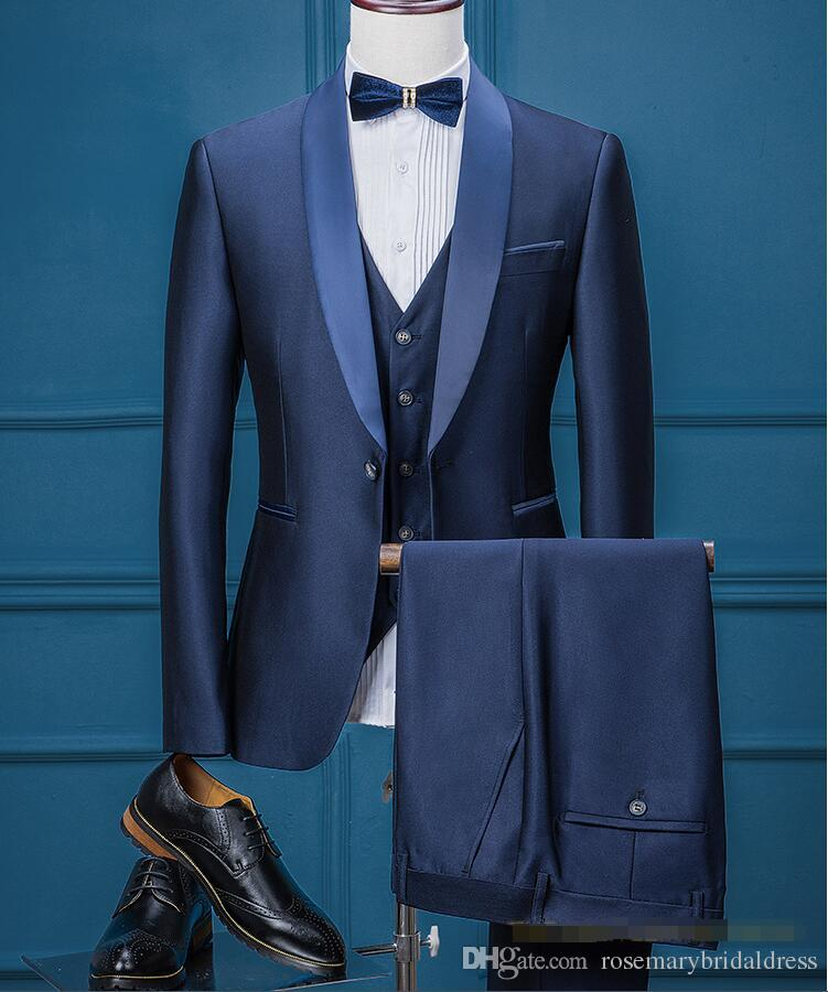 Handsome Royal Blue Wedding Tuxedos Slim Fit Pattern Laple Suits For Men Cheap One Button Groom Only The Jacket Pants And Vest