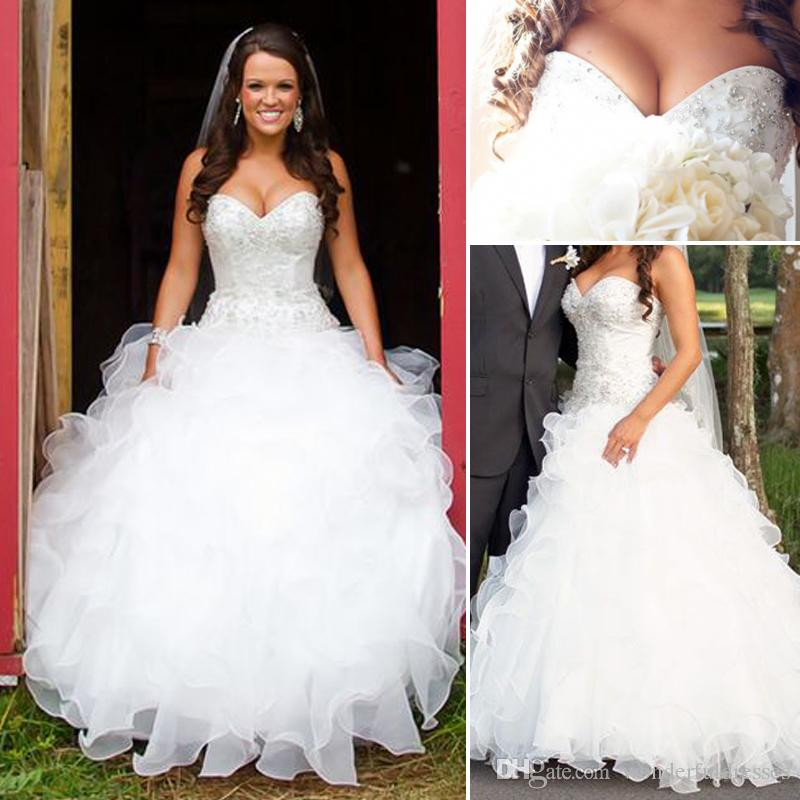 Discount Vintage Plus Size Country Wedding Dresses A Line Sweetheart Ruffled