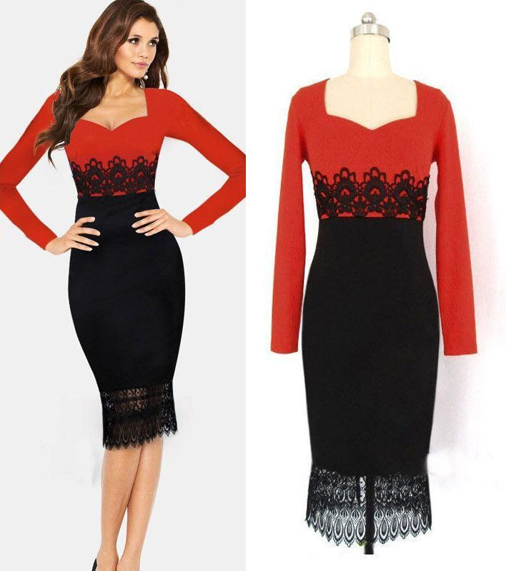 New Red Black Casual Dress Women Tunic Bodycon Ol Lace Patchwork ...