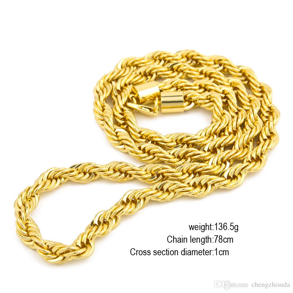 10mm Epais 76cm Longue corde Twisted Chain 24K plaqué or Hip hop Twisted Heavy N