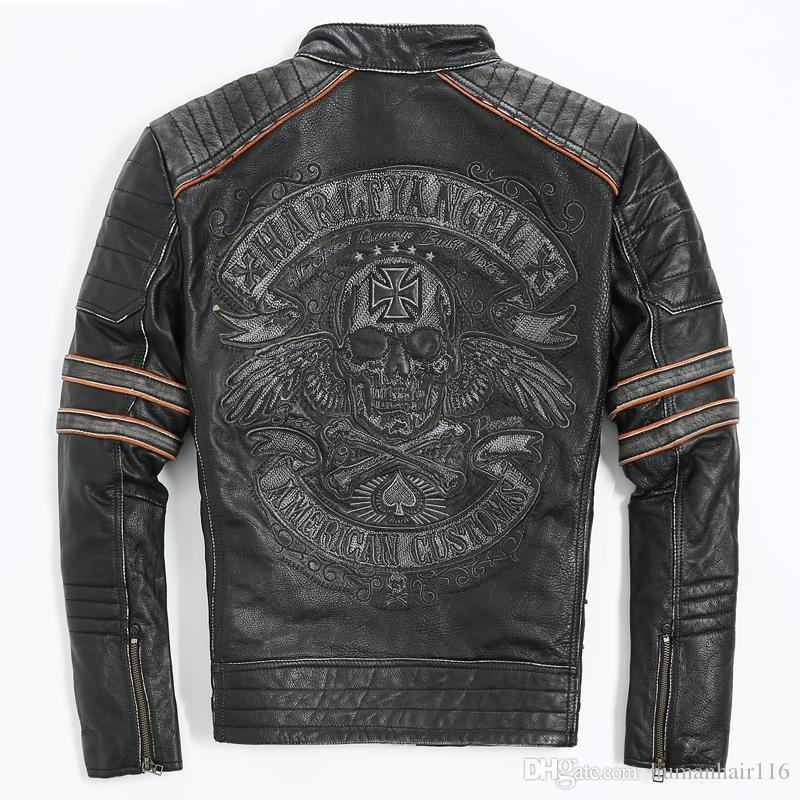 2017 Men Retro Vintage Leather Biker Jacket Embroidery Skull ...