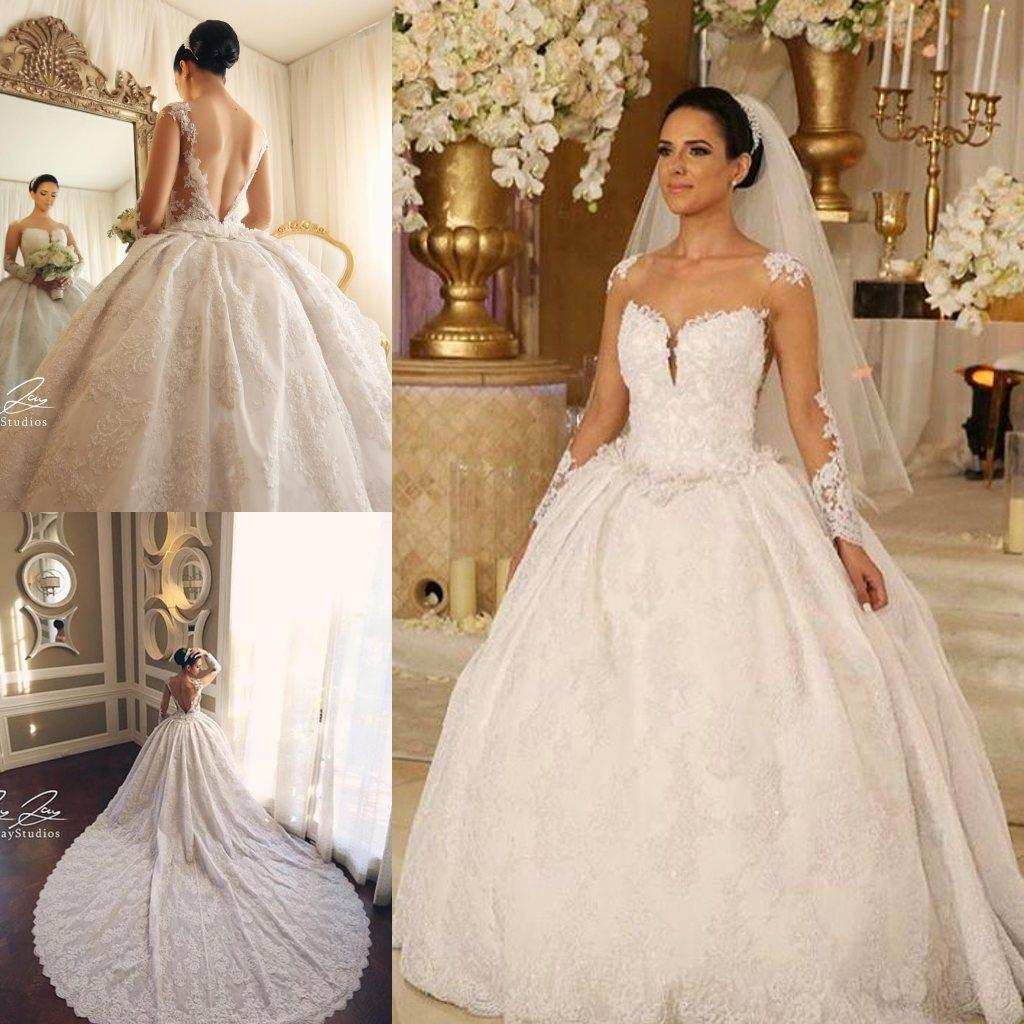 Discount Classy Lace Backless Wedding Dresses With Sheer